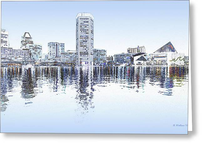 Inner Harbor - Blue Greeting Card by Brian Wallace