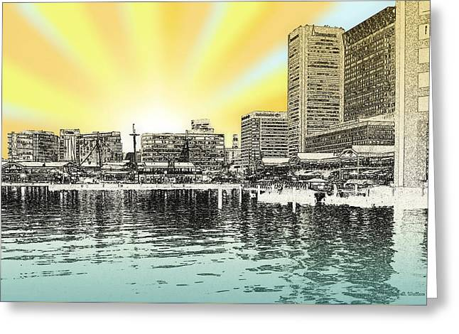 Inner Harbor - Digital Art Greeting Card