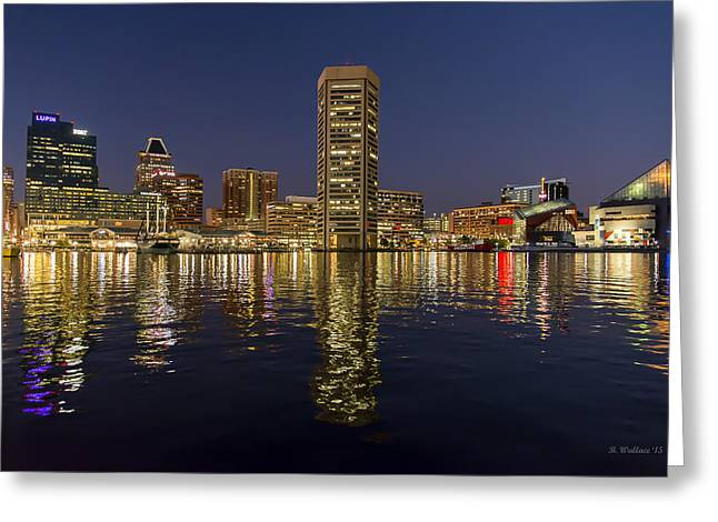 Inner Harbor Nightlights Greeting Card by Brian Wallace