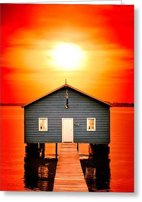 Blood Sunset Panorama Greeting Card
