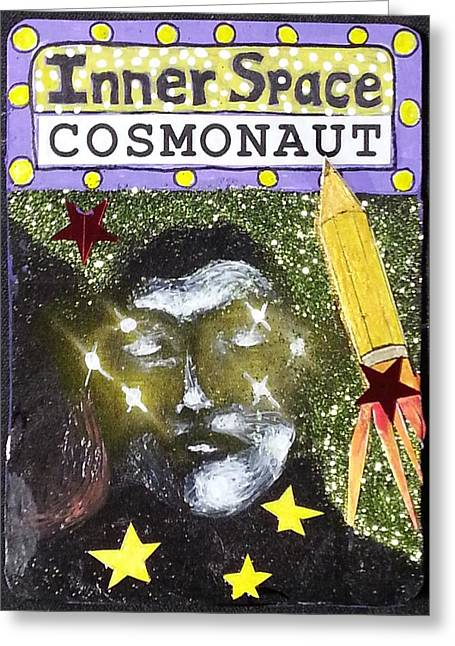 Aceo - Inner Space Cosmonaut Greeting Card by Corey Habbas
