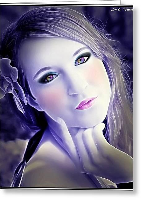 Innocent Fairy Portrait Greeting Card by Jon Volden