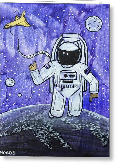 Greeting Card featuring the painting Inquisitive Explorer by Nathan Rhoads