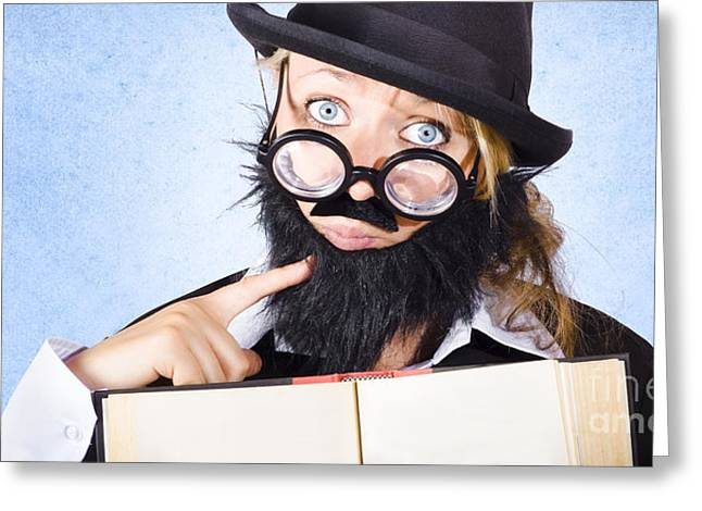 Inquisitive Scientist Holding Open Theory Book Greeting Card by Jorgo Photography - Wall Art Gallery