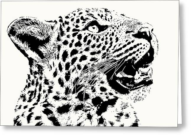 Inquisitive Young Leopard Looking Up Greeting Card