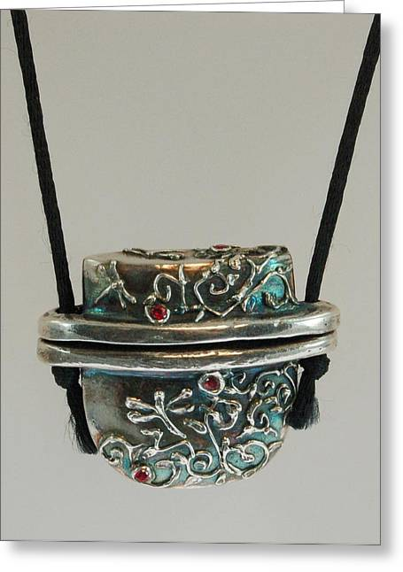 Inro Box Pendant Greeting Card by DeLa Hayes Coward
