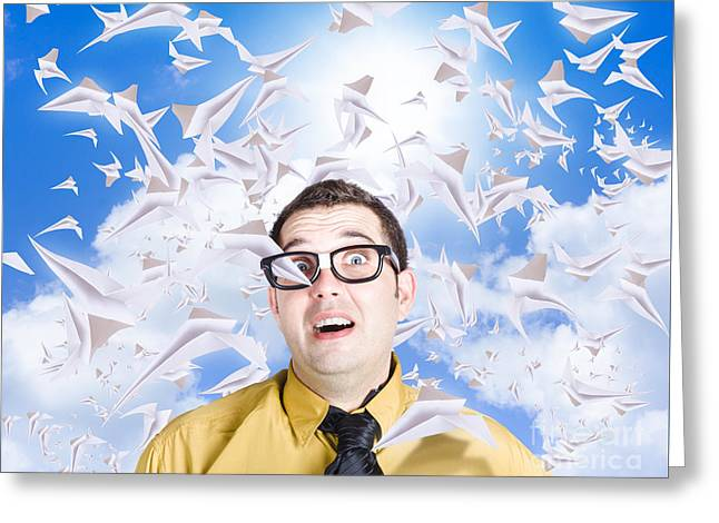 Insane Business Man With Busy Travel Schedule Greeting Card by Jorgo Photography - Wall Art Gallery