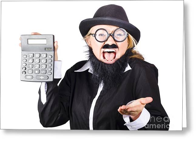 Insane Woman Shouting And Holding Calculator Greeting Card