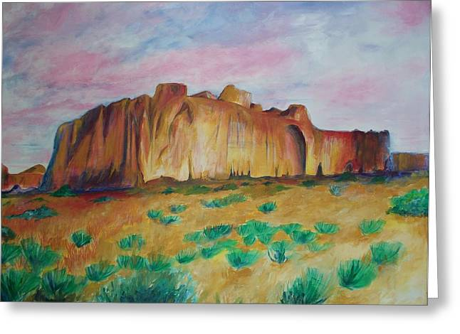 Greeting Card featuring the painting Inscription Rock  by Eric  Schiabor