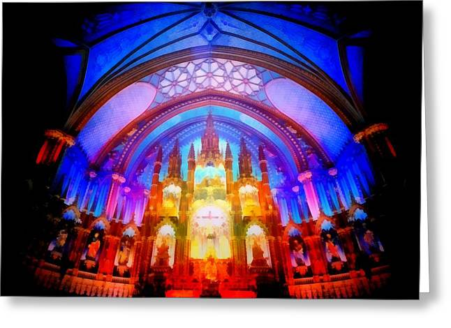 Icons Prints On Canvas Greeting Cards - Inside a Cathedral Dark Greeting Card by Mario Carini