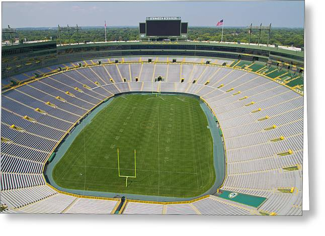 Greeting Card featuring the photograph Inside Lambeau Field by Joel Witmeyer