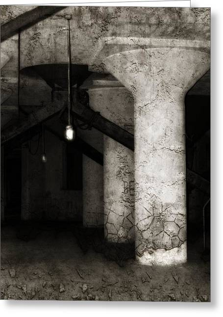 Inside Empty Dark Building With Light Bulbs Lit Greeting Card by Gothicrow Images