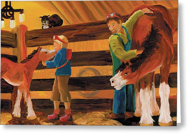 Inside The Barn Greeting Card