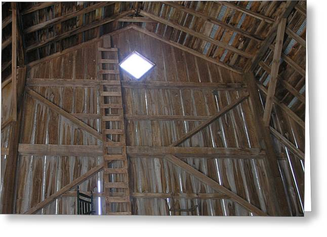 Inside The Barn Greeting Card by Janis Beauchamp