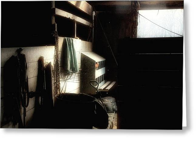 Old Wood Building Greeting Cards - Inside The Barn Greeting Card by Ross Powell