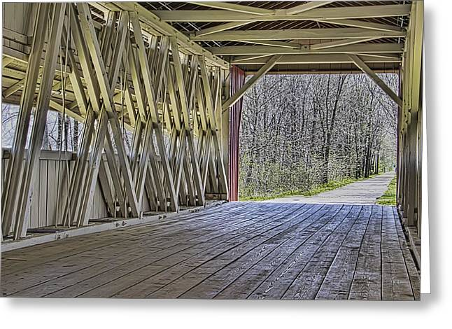 Inside The Covered Bridge Greeting Card by William Sturgell