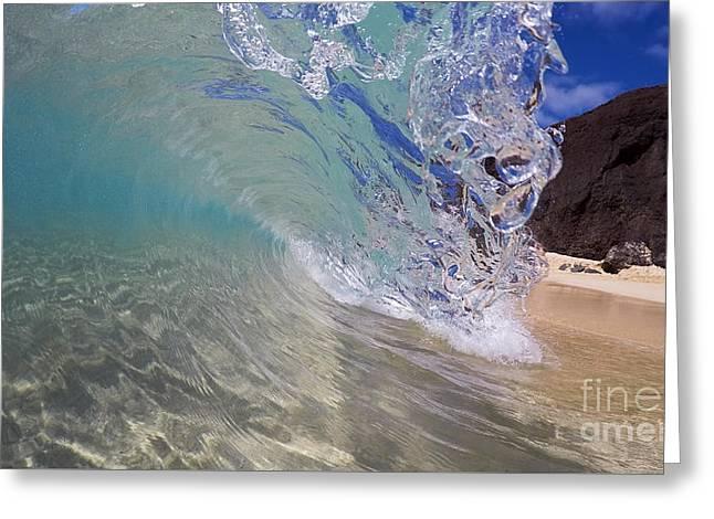 Inside The Curl Big Beach Maui Wave Greeting Card
