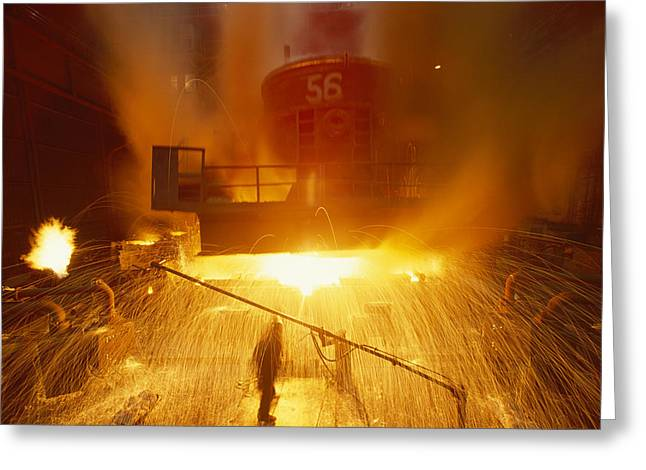 Inside The East-slovakian Steel Mill Greeting Card by James L Stanfield