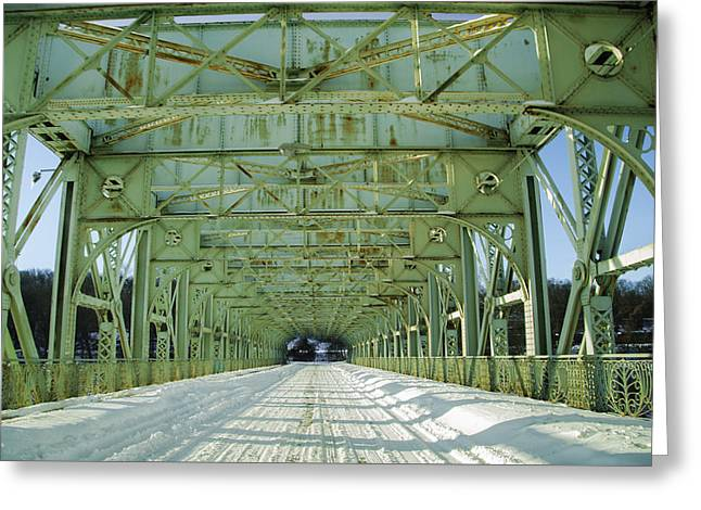 Inside The Falls Bridge - Winter Greeting Card by Bill Cannon