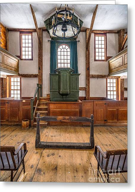 Inside The Harpswell Meetinghouse Greeting Card
