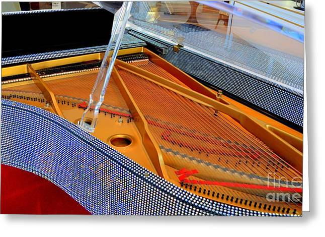Inside The Rhinestone Piano Greeting Card by Mary Deal