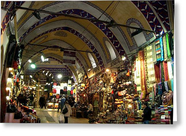 Istanbul Mixed Media Greeting Cards - Inside the Souq Greeting Card by Sunaina Serna Ahluwalia
