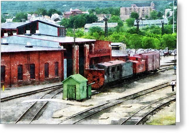 Inside The Train Yard Greeting Card by Susan Savad