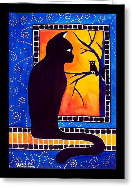 Insomnia - Cat And Owl Art By Dora Hathazi Mendes Greeting Card