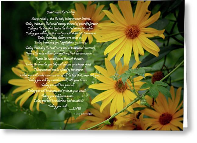Inspiration For Today Floral Greeting Card by Cathy  Beharriell