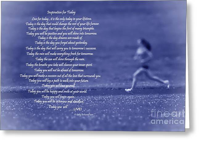 Inspiration For Today Runner  Greeting Card by Cathy  Beharriell