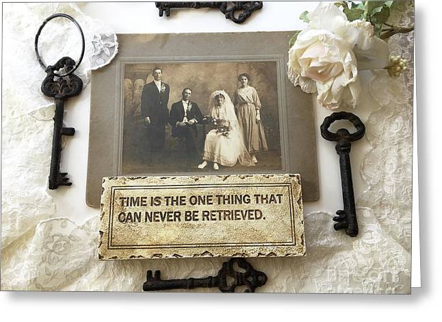 Inspirational Art - Vintage Wedding Photo With Antique Keys - Inspirational Vintage Black Keys Art  Greeting Card by Kathy Fornal