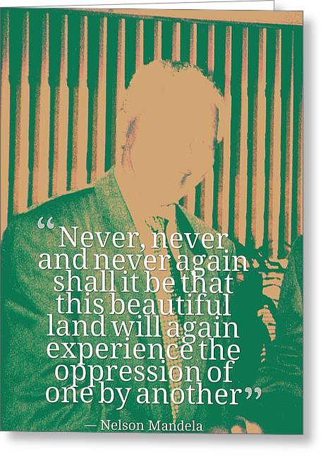 Inspirational Quotes - Motivational - 122 Nelson Mandela Greeting Card by Celestial Images