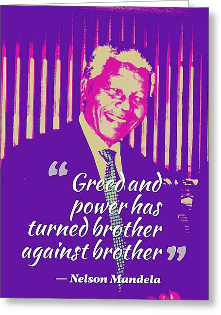 Inspirational Quotes - Motivational - 123 Nelson Mandela Greeting Card by Celestial Images
