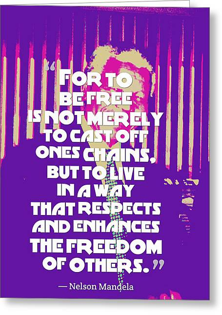 Inspirational Quotes - Motivational - 124 Nelson Mandela Greeting Card by Celestial Images
