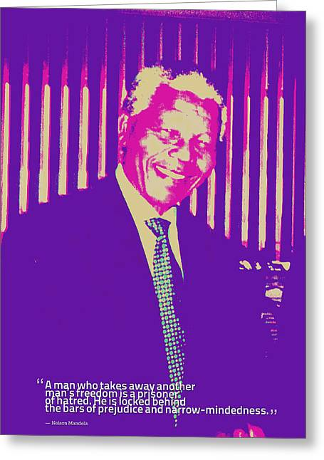 Inspirational Quotes - Motivational - 125 Nelson Mandela Greeting Card by Celestial Images