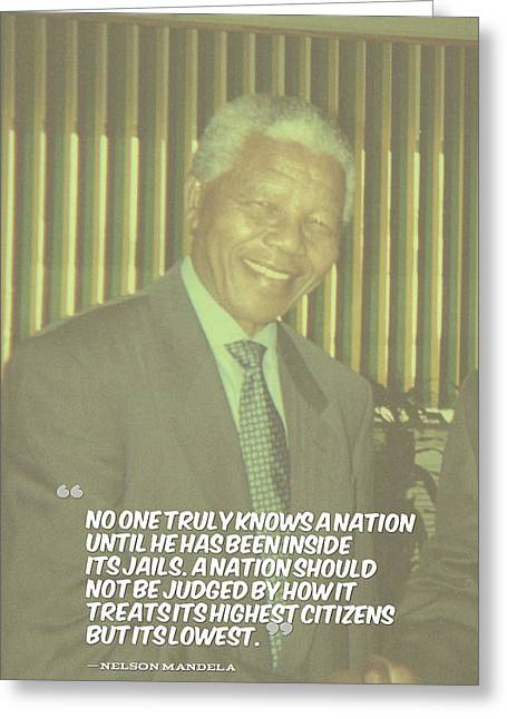 Inspirational Quotes - Motivational - 126. Nelson Mandela Greeting Card by Celestial Images