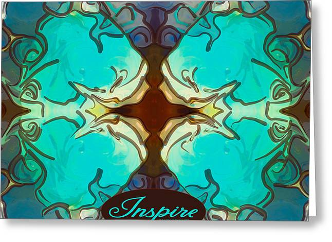 Blue Grapes Drawings Greeting Cards - Inspire Circles 2015 Abstract Tote Art by Omashte Greeting Card by Omaste Witkowski