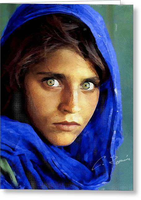 Inspired By Steve Mccurry's Afghan Girl Greeting Card
