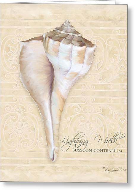 Inspired Coast 3 - Lightning Whelk Shell Busycon Contrarium Greeting Card by Audrey Jeanne Roberts