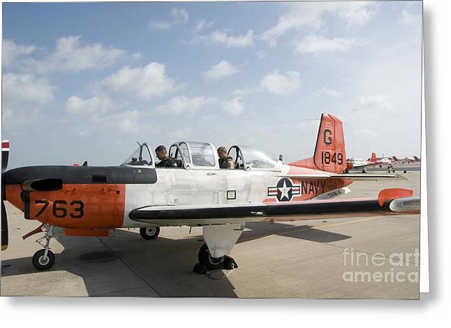 Trainer Greeting Cards - Instructor Pilot And Student In A T-34 Greeting Card by Stocktrek Images