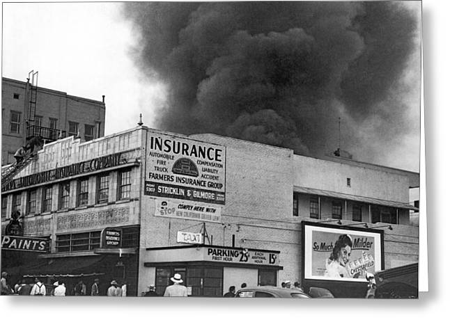 Insurance Company Fire Greeting Card by Underwood Archives