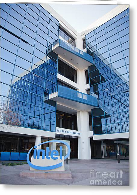 Intel Sign At Corporate Headquarters. Greeting Card