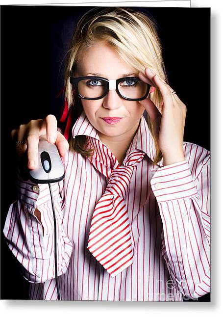 Intelligent Female Computer Geek Coding With Mouse Greeting Card by Jorgo Photography - Wall Art Gallery