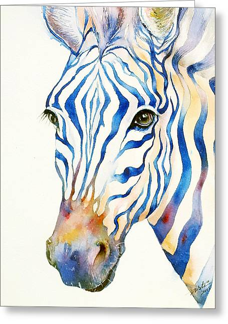 Intense Blue Zebra Greeting Card
