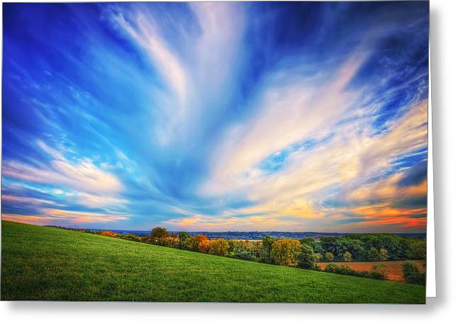 Intense Clouds - Fall Sunset - Retzer Nature Center - Waukesha Greeting Card by Jennifer Rondinelli Reilly - Fine Art Photography