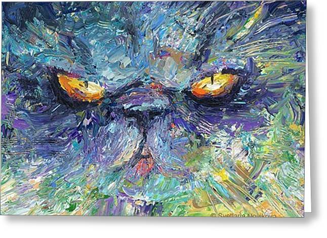 Intense Palette Knife  Persian Cat Greeting Card