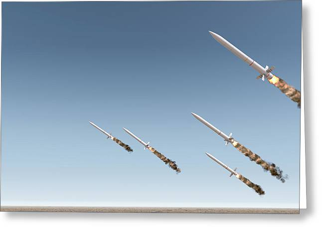 Intercontinental Ballistic Missile Greeting Card by Allan Swart