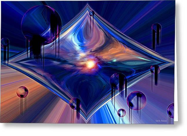 Greeting Card featuring the digital art Interdimensional Portal by Linda Sannuti