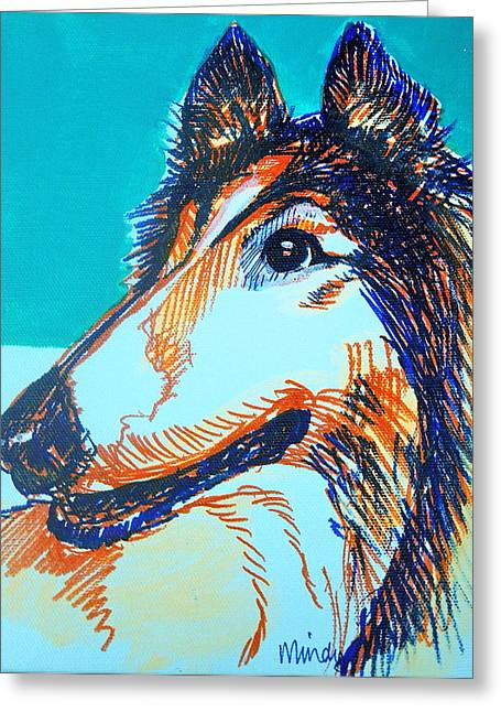 Interested Collie Greeting Card by Melinda Page