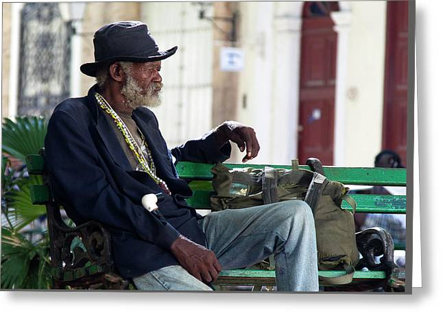 Greeting Card featuring the photograph Interesting Cuban Gentleman In A Park On Obrapia by Charles Harden